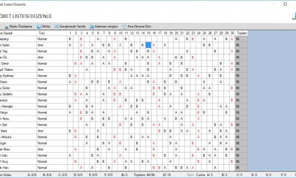 Veirasoft Nöbet Listesi Hazırlama Programı Ekran Görüntüleri - 2