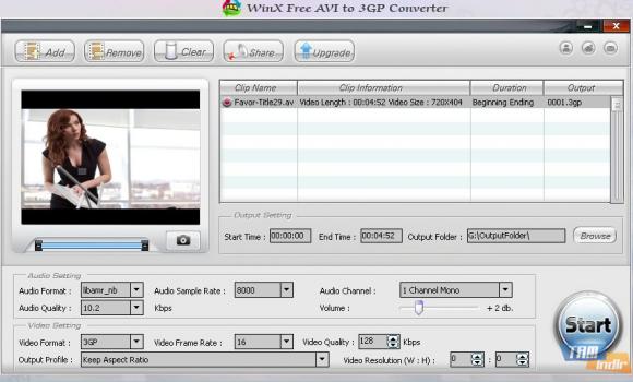 WinX Free AVI to 3GP Converter Ekran Görüntüleri - 1
