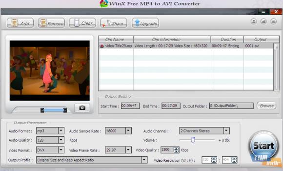 WinX Free MP4 to AVI Converter Ekran Görüntüleri - 1