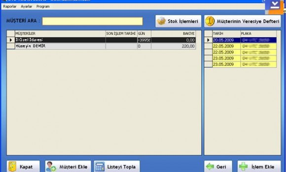 Oto Teknik Servis ve Müşteri Takibi Programı Ekran Görüntüleri - 1