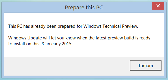 Windows Technical Preview PC Preparation Ekran Görüntüleri - 1