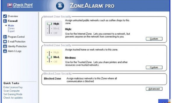 ZoneAlarm Pro Firewall Ekran Görüntüleri - 1