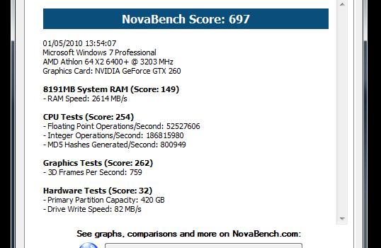 NovaBench Ekran Görüntüleri - 1