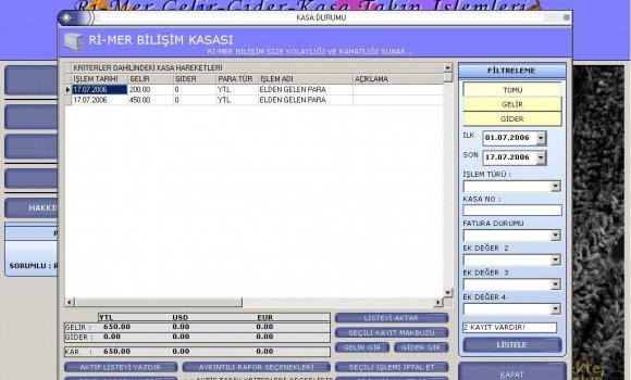 Ri-Mer Gelir-Gider Kasa Takip Ekran Görüntüleri - 2