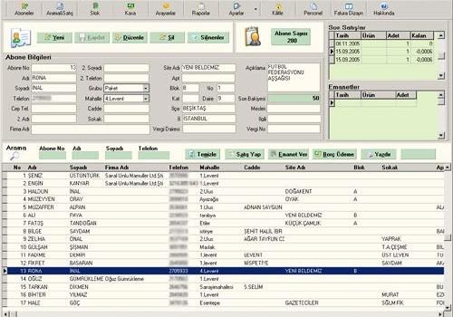 A-Müşteri Sipariş ve Satış Programı Ekran Görüntüleri - 1