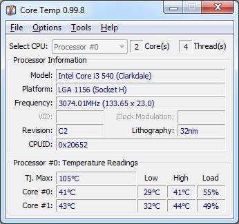 Core Temp Ekran Görüntüleri - 1