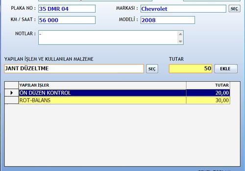 DemirSoft Rot-Balans Servis Müşteri Takibi Programı Ekran Görüntüleri - 3