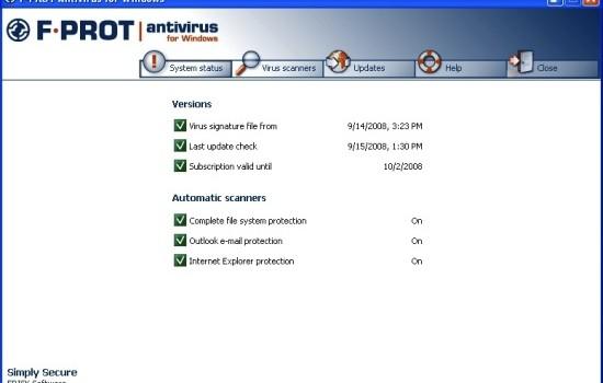 F-PROT Antivirus Ekran Görüntüleri - 1