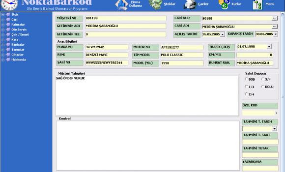 Nokta Barkod Oto Servis Otomasyonu Ekran Görüntüleri - 3