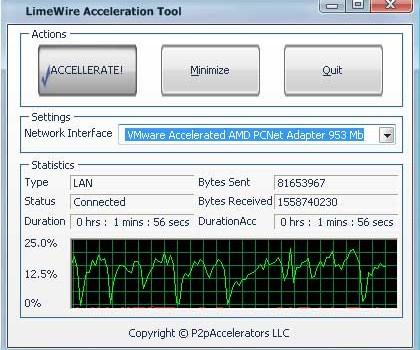 LimeWire Acceleration Tool Ekran Görüntüleri - 1