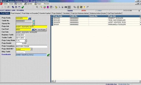 Axoft Proje Yönetim Programı Ekran Görüntüleri - 1