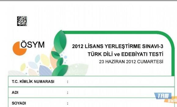 2012 LYS-3 Türk Dili ve Edebiyatı Testi Soruları ve Cevapları Ekran Görüntüleri - 1