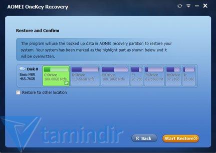AOMEI OneKey Recovery Ekran Görüntüleri - 5
