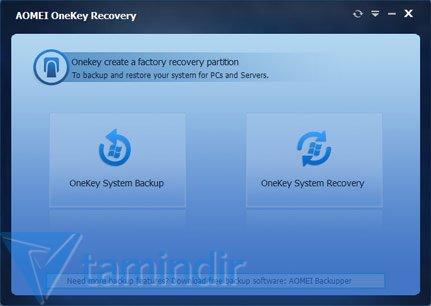 AOMEI OneKey Recovery Ekran Görüntüleri - 1