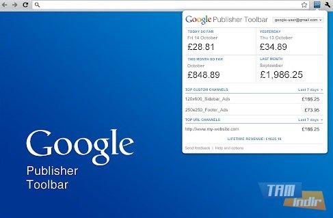 Google Yayıncı Araç Çubuğu Ekran Görüntüleri - 1
