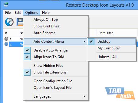 Restore Desktop Icon Layouts Ekran Görüntüleri - 1
