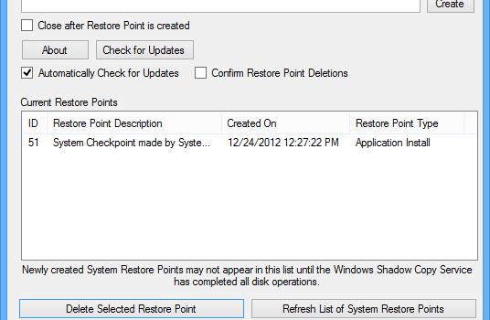Restore Point Creator Ekran Görüntüleri - 2