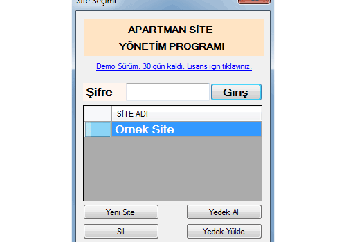 Site ve Apartman Yönetim Programı Ekran Görüntüleri - 2