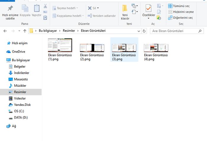 ekran görüntüleri klasörü