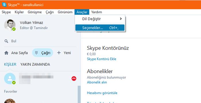 skype seçenekleri