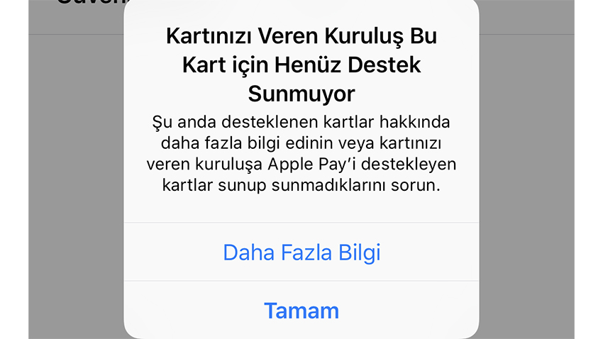 Apple Pay Kart Hatası