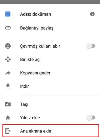 dosyayı ana ekrana ekleme
