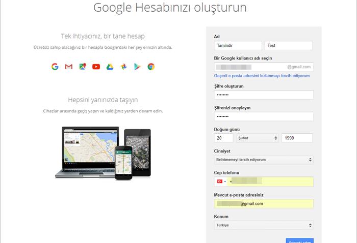 gmail hesap bilgileri