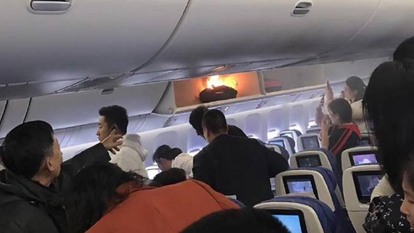Uçakta Powerbank Yangını