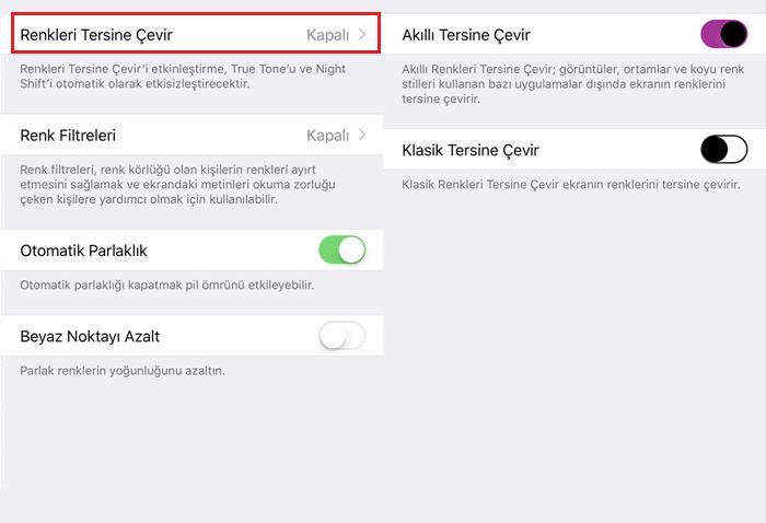 iphone ekran renkleri