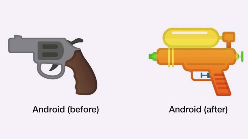 Google, Silah Emojisini Su Tabancası ile Değiştiriyor