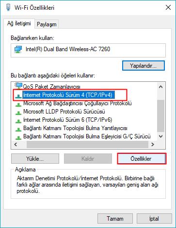 windows internet protokolü 4 özellikleri