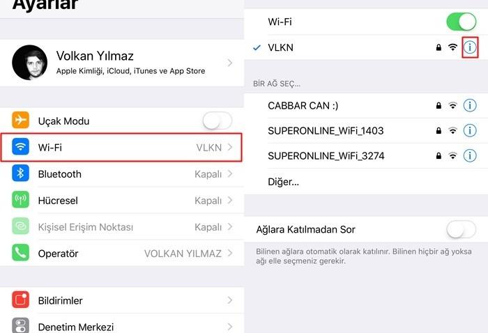 ios wi-fi ayarları