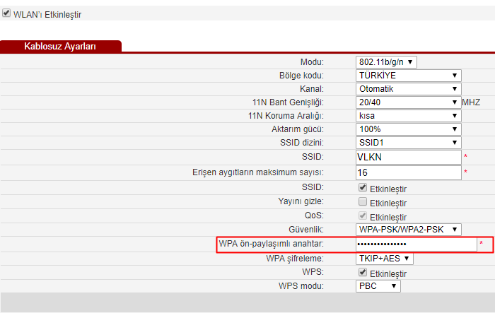 wi-fi şifre değiştirme