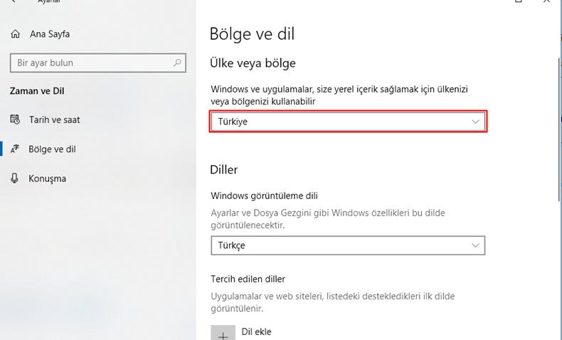 Windows 10 bölge değiştirme