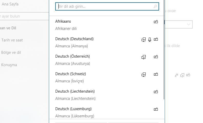 Windows 10 dil seçme