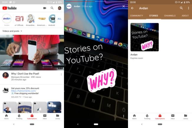 YouTube Hikayeler özelliği 1