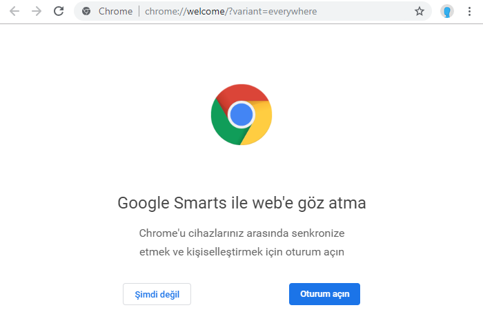 Chrome oturum açma ekranı