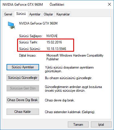 windows 10 grafik sürücüsü sürümü