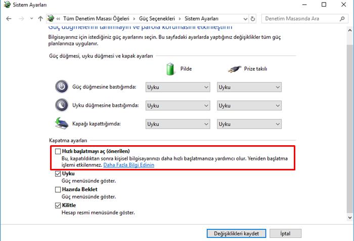 windows 10 hızlı başlatma