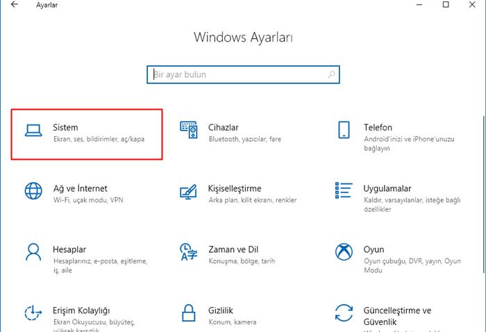 Windows 10 sistem ayarları