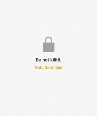 iOS'ta kilitli notu görüntüleme