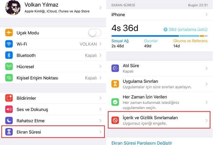 iOS içerik sınırlamaları