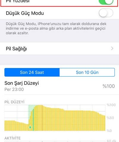 iPhone Pil yüzdesi etkinleştirme