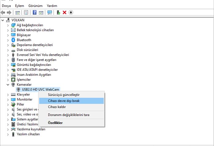 Windows 10'da Webcami devre dışı bırakmak