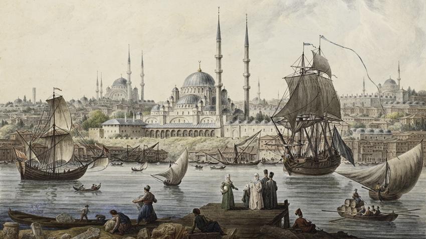 eski istanbul süleymaniye kadırga gemi
