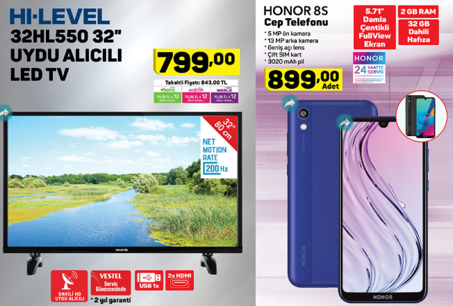 Honor 8S, Hi Level 32HL530 32 Uydu Alıcılı Led TV ve dahası