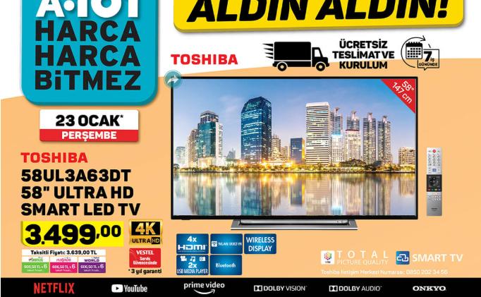 Toshiba 58UL3A63DT 58 Ultra HD Smart Led TV