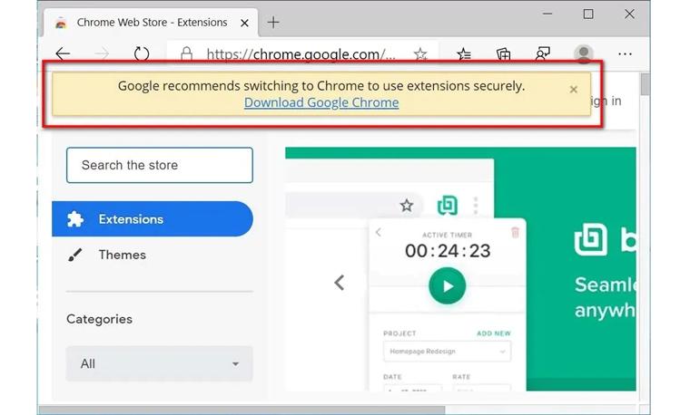 google edge uyarısı