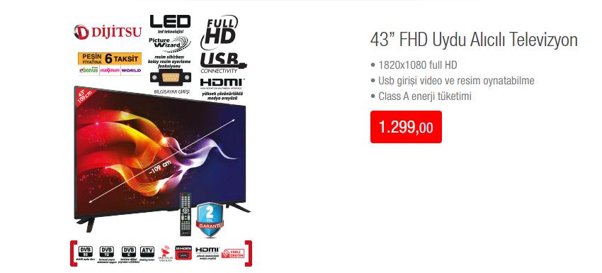 43FHD Uydu Alıcılı Televizyon