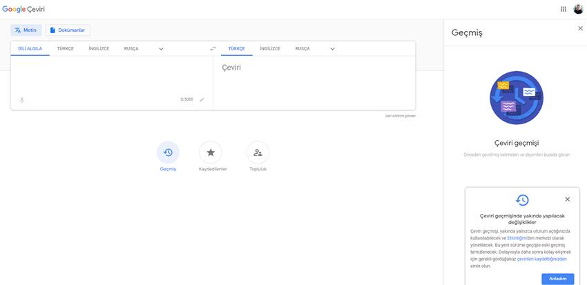 Google Çeviri, Çevrilen Kelimeleri Geçmişe Kaydedecek!